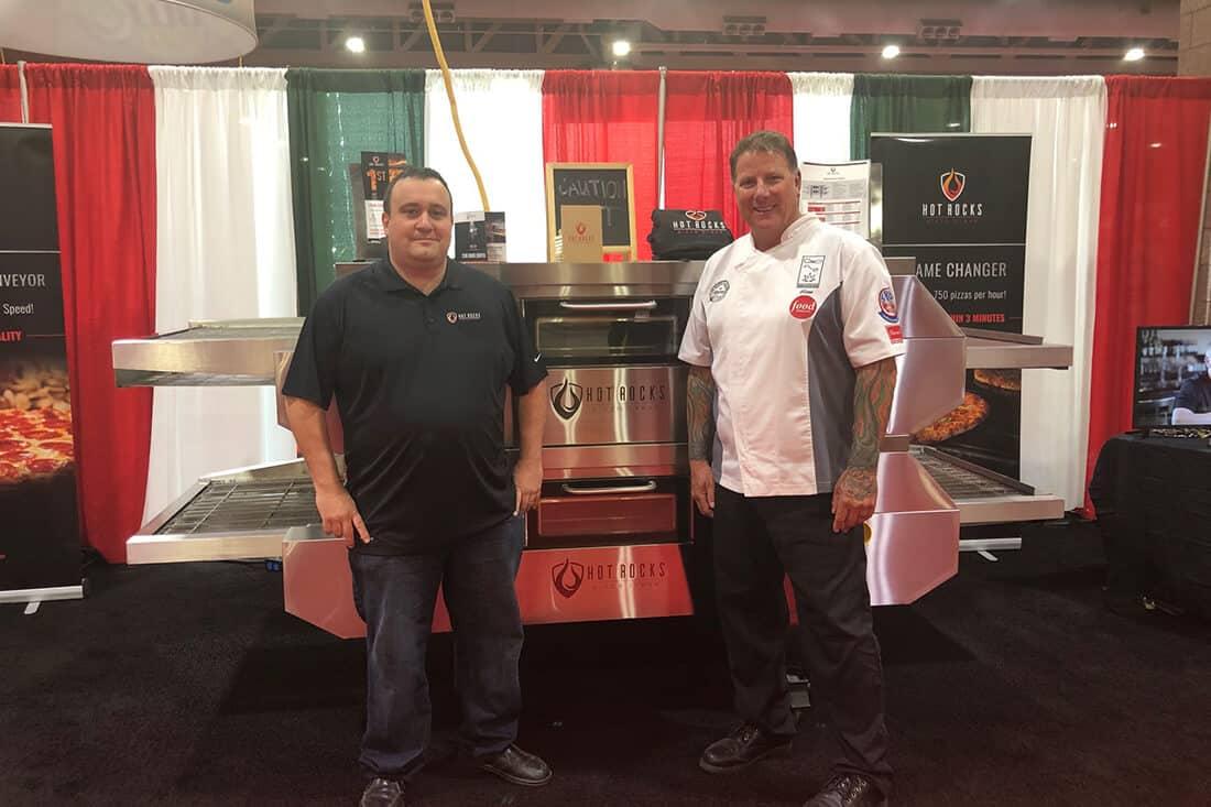 Pizza chef Glenn Cybolsky with Hot Rocks corporate chef Fabrizio Iocco